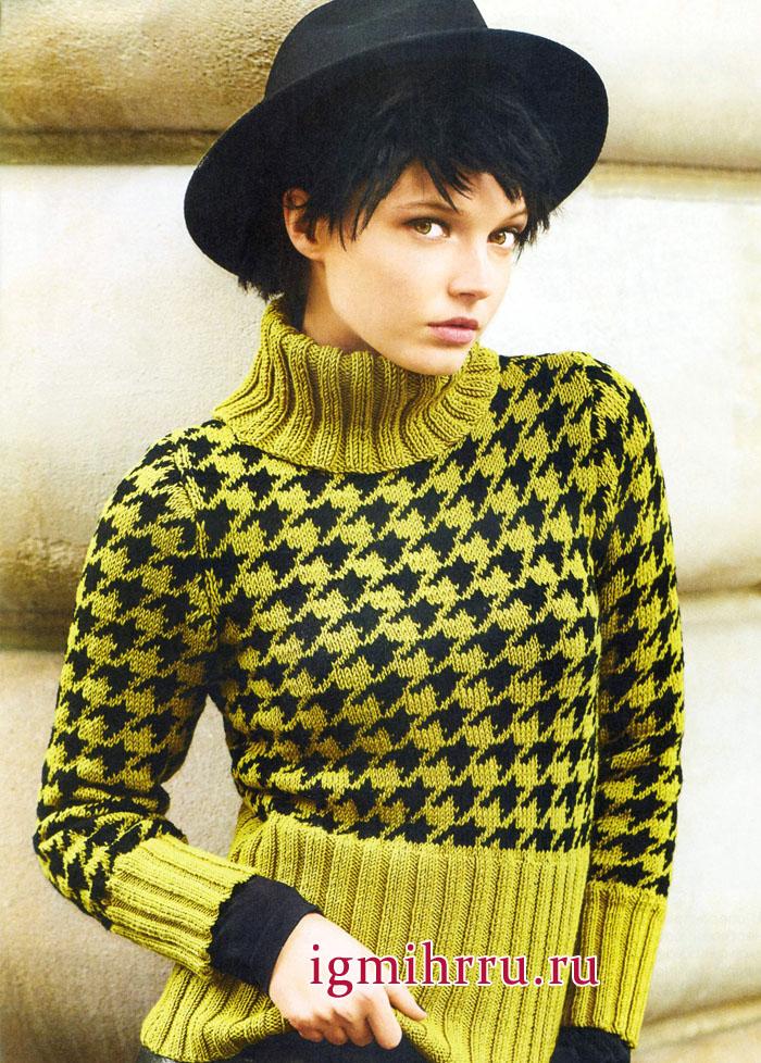 Эффектный свитер с узором Гусиная лапка и широкими резинками. Вязание спицами
