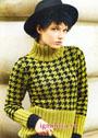 Эффектный свитер с узором Гусиная лапка и широкими резинками. Спицы