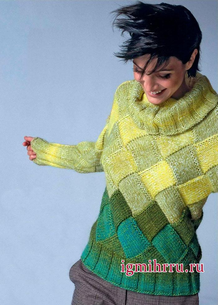 Вязаная геометрия. Теплый свитер с желто-зелеными квадратами, связанный единым полотном. Вязание спицами
