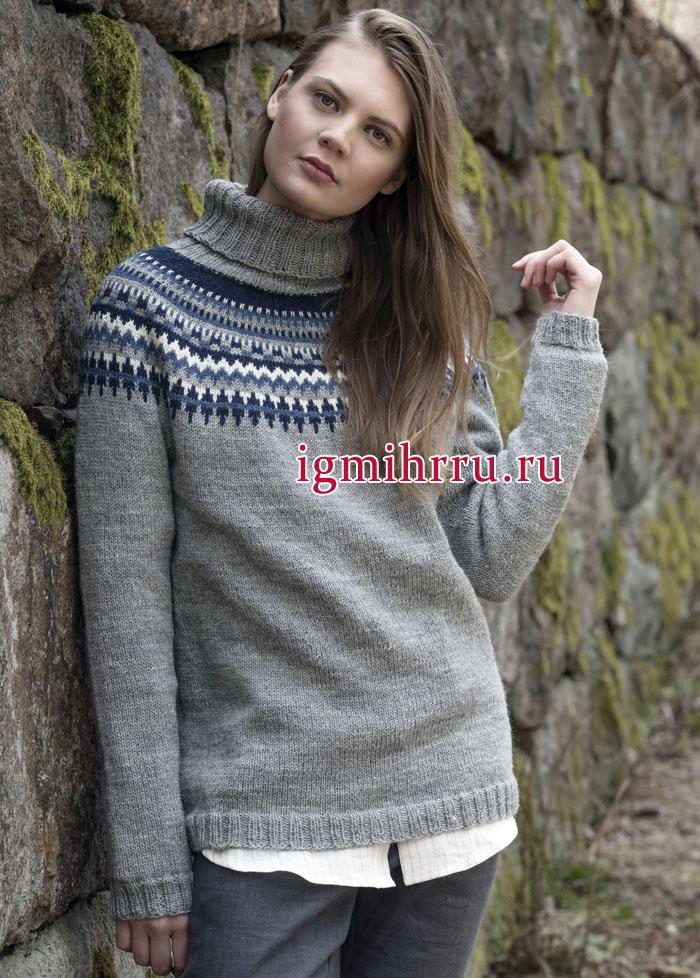Теплый серый свитер с круглой жаккардовой кокеткой. Вязание спицами