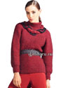 Бордовый свитер-реглан, украшенный вверху кольцом из кос. Спицы