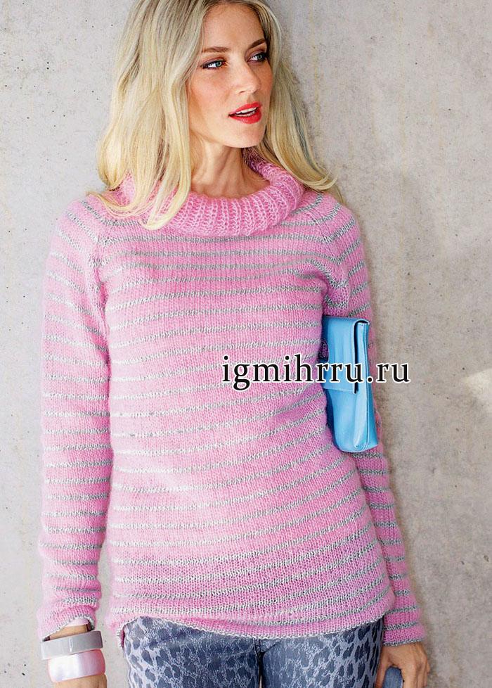 Мохеровый розовый свитер с тонкими серебристыми полосками. Вязание спицами