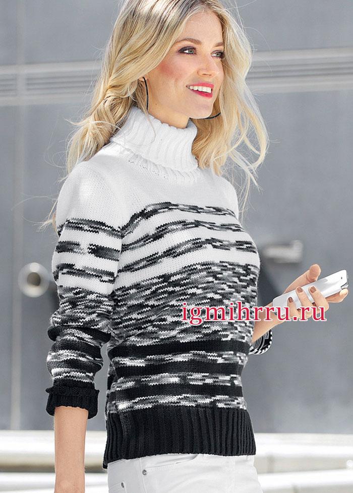 Непринужденно и элегантно! Черно-белый свитер в полоску. Вязание спицами
