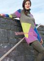 Удлиненный свитер с разноцветными геометрическими узорами. Спицы