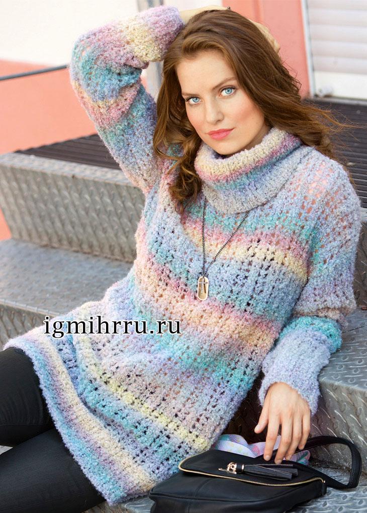 Мягкий теплый свитер из пастельной пряжи секционного крашения. Вязание спицами