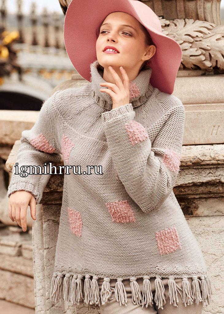 Бежевый свитер в винтажном стиле. Вязание спицами