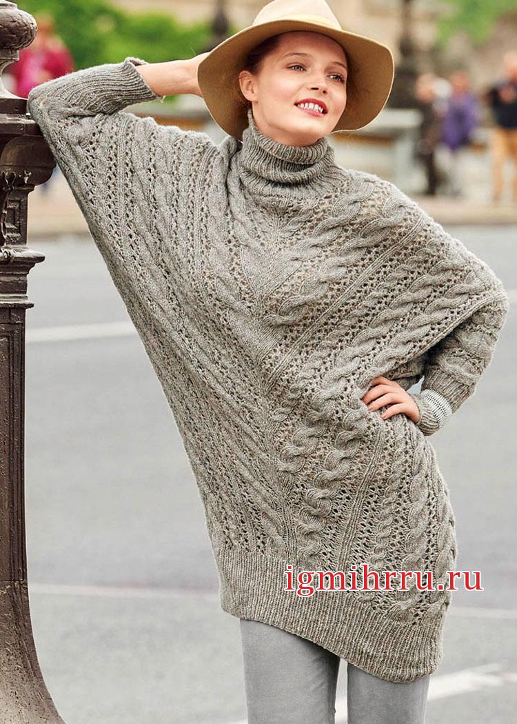 Удлиненный узорчатый свитер покроя летучая мышь. Вязание спицами