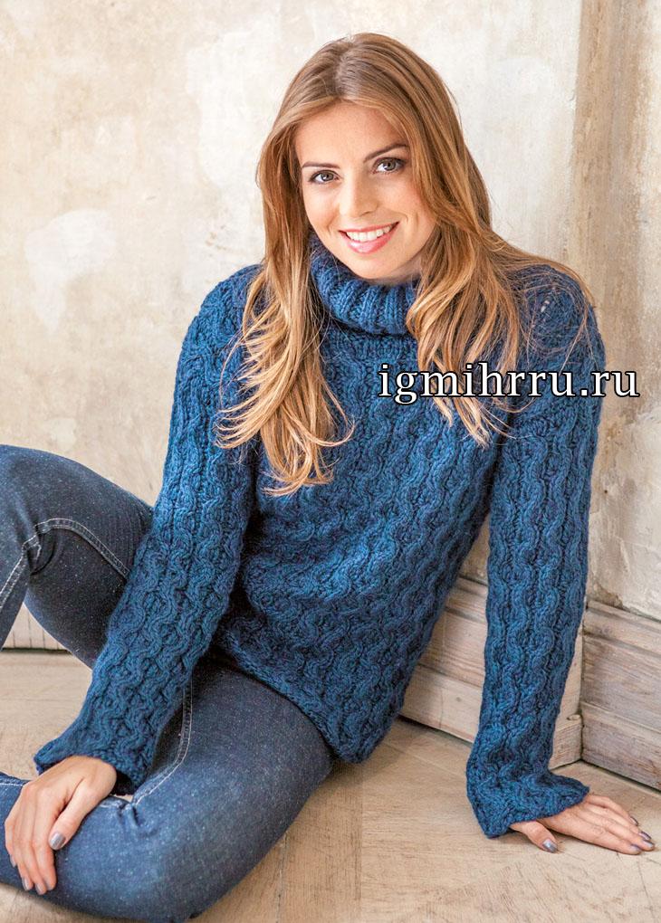 Сине-зеленый свитер из кос. Вязание спицами