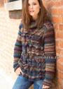 Меланжевый свитер в форме трапеции, с узором из кос. Спицы