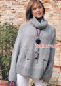Свободный серый свитер-пончо с ложными карманами. Спицы