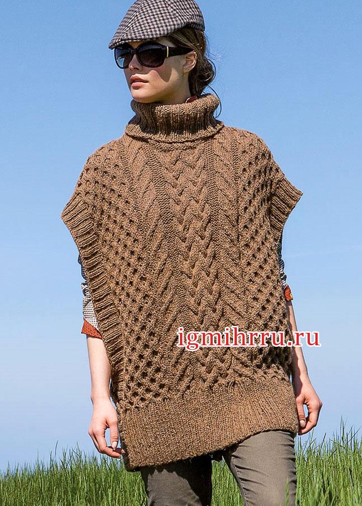 в стиле Oversize коричневый свитер пончо с заниженной проймой