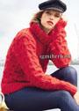 Красный шерстяной свитер с узором соты. Спицы