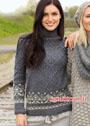 Серый свитер с жаккардовыми бордюрами. Спицы