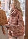 Объемный меланжевый свитер с небольшими дырочками. Спицы