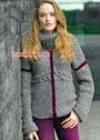 Теплый серый свитер с пурпурными линиями. Спицы