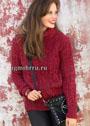 Красный свитер с рельефным узором. Спицы