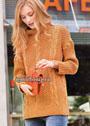 Оранжевый теплый свитер с миксом узоров. Спицы