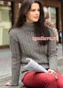 Теплый серый свитер с плетеным узором. Спицы
