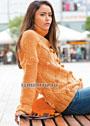 Оранжевый свитер с крупными шишечками. Спицы