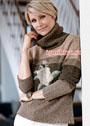 Классический теплый свитер с вышивкой роза. Спицы