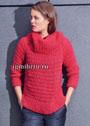 Красный свитер со структурными резинками. Спицы
