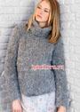 Комфортный серый свитер из длинноворсовой пряжи. Спицы