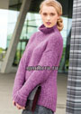 Просторный свитер с удлиненной спинкой. Спицы