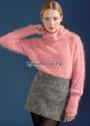 Теплый пушистый свитер розового цвета, с красивым декором. Спицы