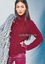 Винно-красный свитер с косами. Спицы