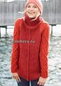 Красный шерстяной свитер со структурными узорами. Спицы