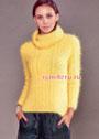 Мягкий пушистый свитер желтого цвета. Спицы