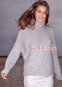 Светло-серый свитер, связанный поперек. Спицы