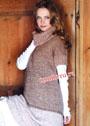 Бежево-пестрый свитер с широким воротником. Спицы