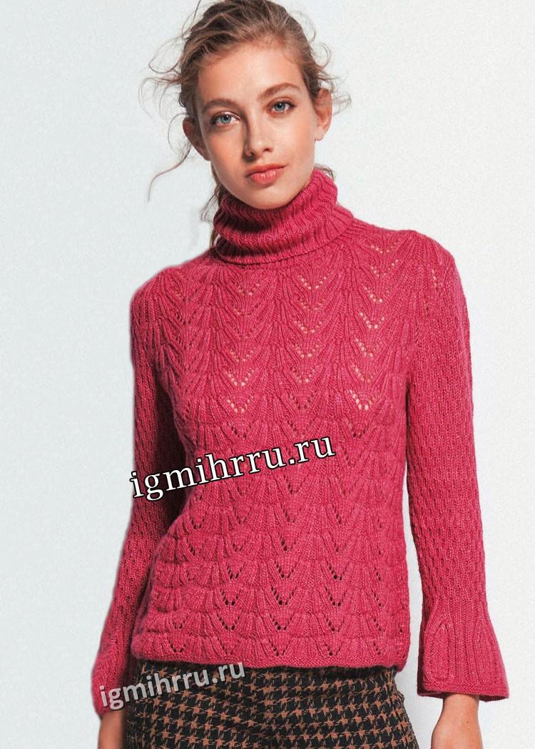 Розовый свитер женский