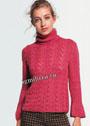 Темно-розовый свитер с фантазийными узорами. Спицы