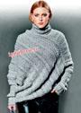 Свободный серый свитер-пончо в ажурную полоску. Спицы