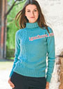 Бирюзовый свитер с асимметричной косой и ажурным узором. Спицы