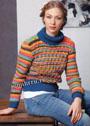 Шерстяной свитер в разноцветную полоску. Спицы