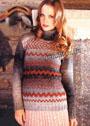Теплый свитер с разнообразными орнаментами. Спицы