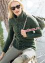 Зеленый твидовый свитер с центральной косой. Спицы
