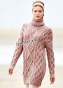 Шерстяной розовый свитер с крупными косами. Спицы