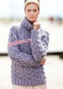 Теплый сиреневый свитер с узором из кос. Спицы