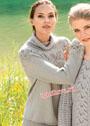 Серый свитер с круглой кокеткой из листьев. Спицы