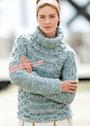 Бело-бирюзовый свитер с косами, связанный на толстых спицах. Спицы