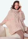 Бежевый свитер-пончо в стиле oversize. Спицы
