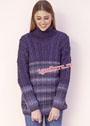 Фиолетовый свитер с разнообразными косами. Спицы