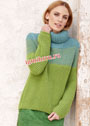 Шерстяной свитер oversize с воротником хомут. Спицы