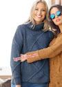 Синий теплый свитер с большими ромбами. Спицы