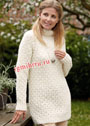Удлиненный ажурный свитер с воротником гольф. Спицы