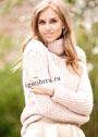 Розовый шерстяной свитер со структурным узором. Спицы